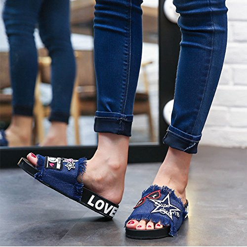 Summer Girls Jeans Womens T Non Sandals Embroidery Cartoon Ladies Flat Blue JULY Style Skid wtUqqI