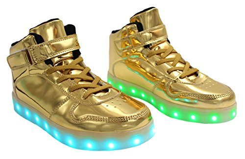 Galaxy LED Shoes Light Up USB Charging High Top Lace & Strap Womens Sneakers (Gold) 9