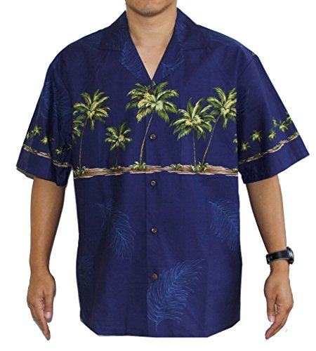 Border Hawaiian Aloha Shirts (HAWAIIAN MEN'S PALM TREES ALOHA SHIRT, 2XL, NAVY BLUE)