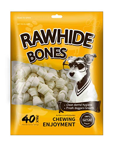 MODONE Mini Nature Rawhide Bones, Pubby Treats for Small or Toy Dog (40-Count ()