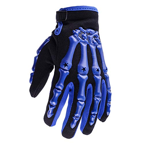 Typhoon Youth Kids Motocross Motorcycle Offroad MX ATV Dirt Bike Gloves - Blue - Large