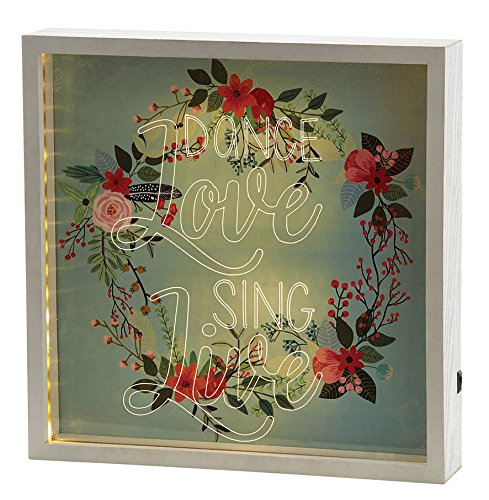 Faithworks Heartfelt LED Lit Light Box Wall Décor, Dance, Love, 12 x 12'', Dance, Love, Sing, Live by Faithworks