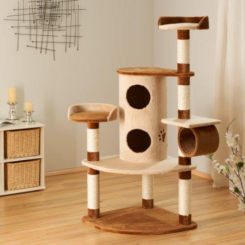 Bontoy Kratzbaum Betty in Creme/Braun I 65 x 65 x 150cm I mit 9 cm Sisalstämmen I auch für große Katzen geeignet I…