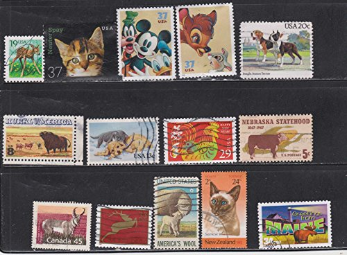 (Cats Dogs Rooster Reindeer Bambi Cows Buffalo Lamb Moose Animals Postage Stamps)