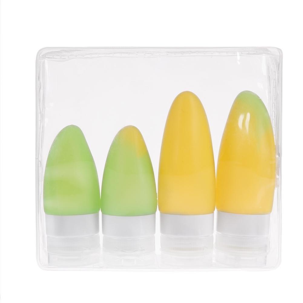 Everpert - Juego de 4 botellas de champú de silicona en forma de fruta