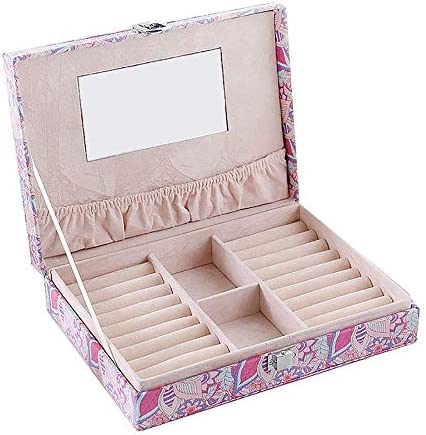 ZYL-YL すべての女性のジュエリーギフトボックスに適した宝石ストレージボックスジュエリーボックス収納ケースロック可能なジュエリーボックスストレージボックスピアス収納ケース(カラー:マルチカラー、サイズ:フリーサイズ)