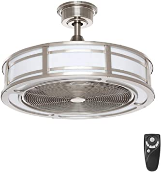 Home Decorators Collection Brette Ii 23 In Led Indoor Outdoor Brushed Nickel Ceiling Fan With Light And Remote Control Amazon Com