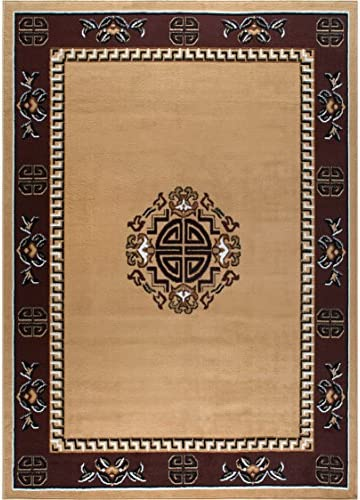 Home Dynamix 7114-101 Sultan Transitional Area Rug 5×7 Sand/Red