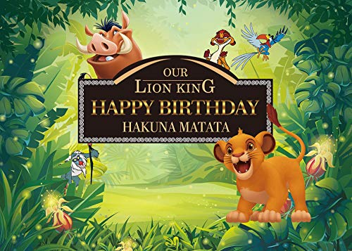 BINQOO Lion King Baby Simba Backdrop Background Kids Childrens Boys Birthday Party Photography Photo Vinyl Decoration - Banner Lions