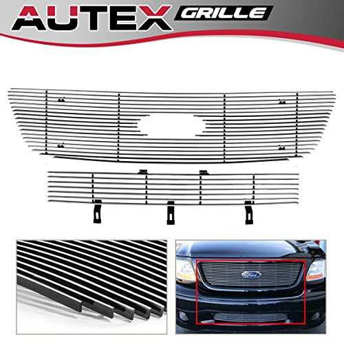 - AUTEX Polished Horizontal Billet Grille Combo Insert Compatible with Ford F150 2001 2002 2003 Grill Bolt Over F67656A