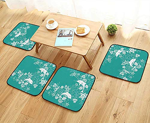 - Leighhome Home Chair Set Animals Decor Dolphins and Flowers Sea Floral Pattern Starfish Coral Seashell Wallpaper Pa Machine-Washable W21.5 x L21.5/4PCS Set