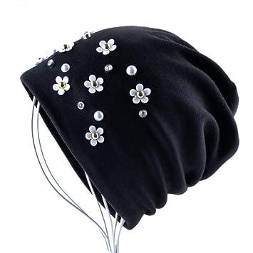 ERQINGM Sombrero De Punto Moda Beanie Sombreros Color Sólido Rhinestone  Flor Skullies Gorros Mujeres Otoño Invierno 95b4b035ee0