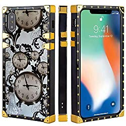 Bonoma Old Clock Square Edge Phone Case Compatible iPhone Xs Max (2018) 6.5in