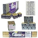 Grodan 1.5'' x 1.5'' x 1.5'' Mini Blocks Grow Media Rockwool Stonewool Cube Propagation + Twin Canaries Chart - Quantity 30