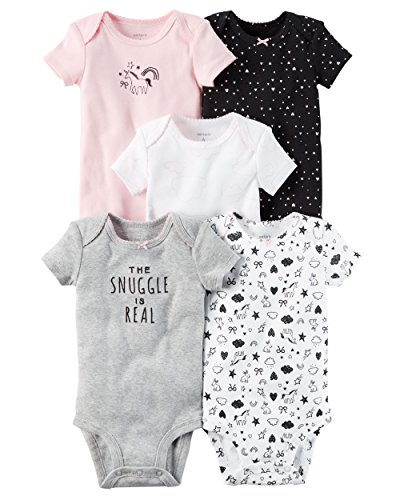 Carter's Girls 5 Pack Short Sleeve Bodysuits