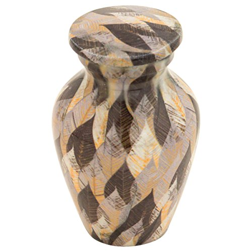 Silverlight Urns Mercury Leaves Keepsake Urn, Mini Urn for Ashes, Autumn Leaf Pattern in Grey, Multi-Color, 2.75 Inches High