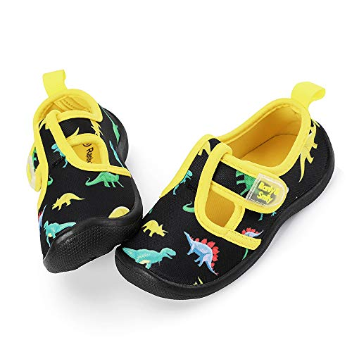 (nerteo Boys Cute Aqua Water Shoes Walking Sneakers Sandals for Beach/Camp/Pool Swim Black/Dinasaur US 7 Toddler)