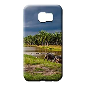 samsung galaxy s6 edge Hybrid PC Protective Stylish Cases mobile phone skins water buffalos entering a river in southeast asia