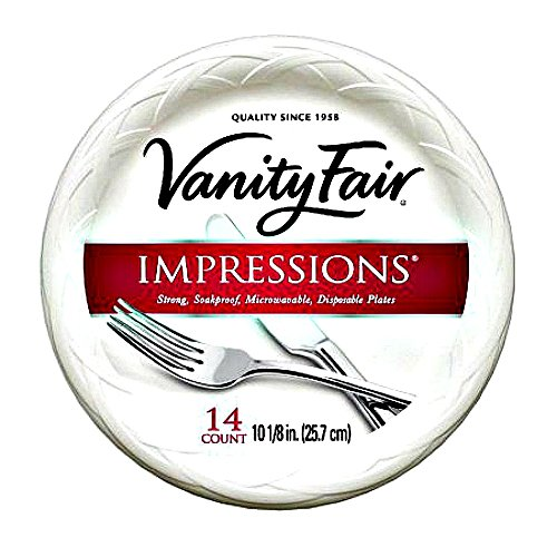 Vanity Fair Impressions 10 1/4 Inch Disposable Plates, 14 Count (2 Pack) ()