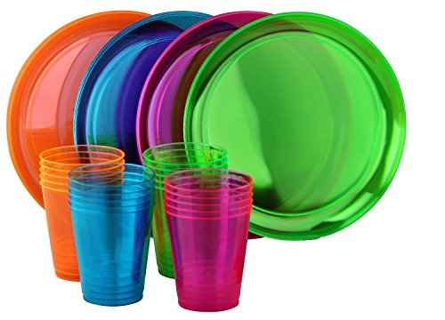 """Economy Neon Party Set! Includes 20 Neon Assorted Colors 9"""" Plates & 20 Neon Assorted Colors 10oz Cups"""