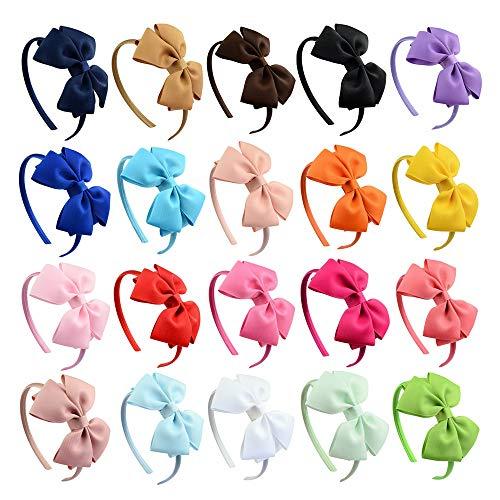 (Tvoip 20Pcs Girls Boutique Grosgrain Ribbon Headband with Bows (Set9))