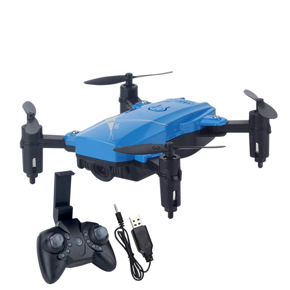 bleu WANGKM Drone avec Caméra 720p HD,GPS FPV RC Drone, Quadricoptère 720p avec Caméra WiFi - Vidéo en Direct et GPS Suivez-Moi, Altitude Hold, Plage de Contrôle Longue,Batterie 500mAh