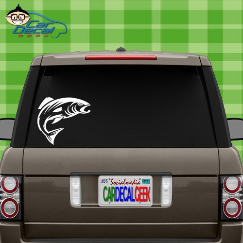 - Salmon Fish Fishing Vinyl Decal Sticker for Car Truck Window Laptop MacBook Wall Cooler Tumbler | Die-Cut/No Background | Multiple Sizes and Colors, 20-Inch, White