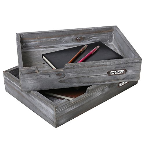 Organizer Multi Wood Purpose Desktop (Set of 2 Ash Gray Wood Office Desktop Document Trays, Decorative Multipurpose File Organizer)