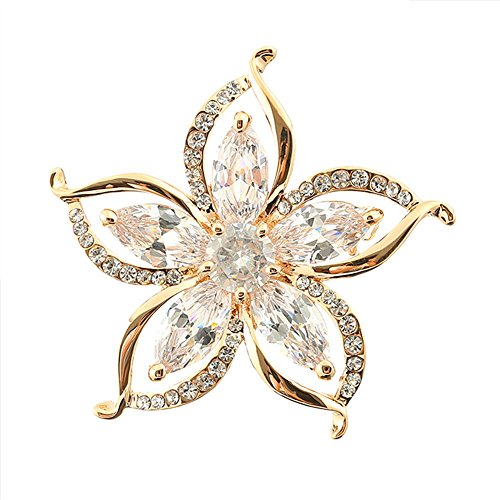 Grtdrm Created Rhinestone Crystal Brooch, Bright Sunflower Style Fashion Pin Gift for Women Girls (Golden) (Brooch Sunflower Crystal)