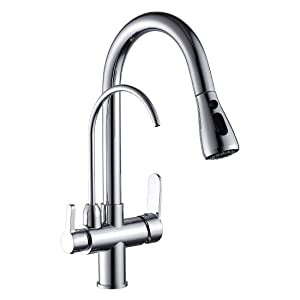 WANFAN Commercial Lead Free Pull Out Kitchen Sink Faucet Dual Handle 3 in 1 High Arc Water Filter Purifier Faucets (Polished Chrome)