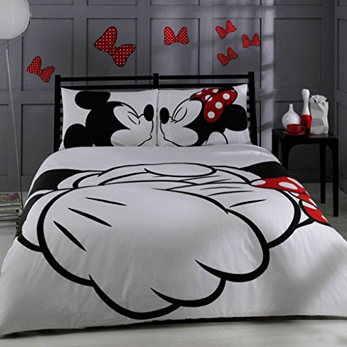 Price comparison product image 100% Turkish Cotton Disney Mickey & Minnie Full Double Queen Size Quilt Duvet Cover Set Bedding Licensed by Disney - 4 Pcs