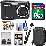 KODAK PIXPRO Friendly Zoom FZ43 Digital Camera (Black) with 16GB Card + Case + Selfie Stick + Kit