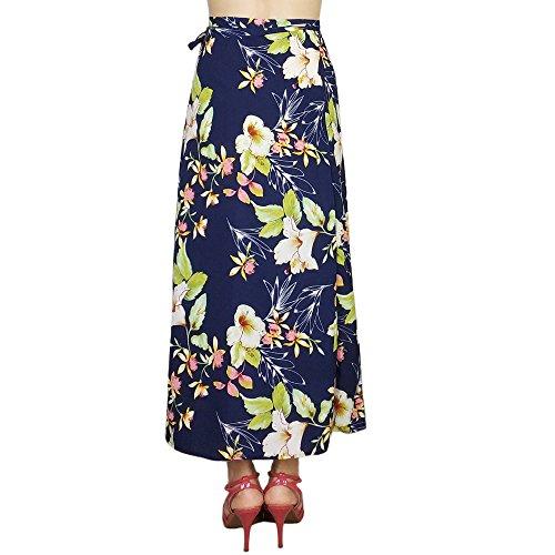 Kaachli Women's Midi Calf Chiffon Printing Slit Thin Skirt ()