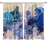 Abstract art draperies, set with two 50''x84'' panels in aqua, yellow and tan, Sea and Sand