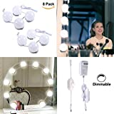 Hollywood Style LED Vanity Mirror Lights Kit for Makeup Dressing Table with Dimmer and Power Supply Plug in Lighting Fixture Strip (8 Bulbs)