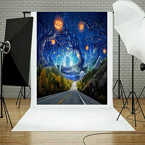 Photography Background Halloween, Party Backdrop Horror Foggy Forest Full Moon Twist Body Costume Carnival Scary Trick or Treat Photo Portrait Vinyl Studio Video Shooting Prop (C, 90x150cm) ()
