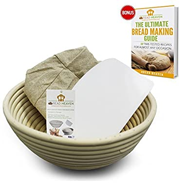Proofing Basket | 8.5  Banneton Proofing Basket + Easy to Clean Linen Liner, eBook & FREE Plastic Bowl Scraper Eco-Friendly Handmade Brotform Combo