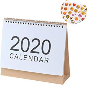 TUANTUAN 1 Pack Desk Monthly Calendar 2019-2020 English Desktop Calendar Daily Calendar Planner with American Holiday and 4 Sheets Expression Stickers,Middle