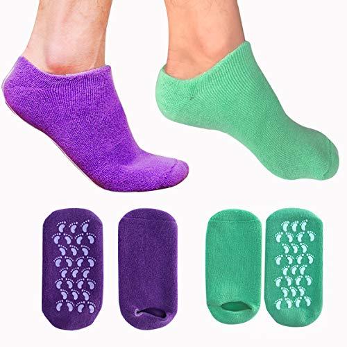 EXPER Moisturizing Gel Socks for Dry Hard Broken Rough Skin Cracked Heel Silicone Foot SPA Care Gel Socks (Purple + Green)