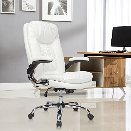 YAMASORO Ergonomic Office Chair with Flip-Up Arms and Comfy Headrest PU Leather High-Back Computer Desk Chair Big and Tall Capacity 330lbs White