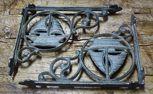 - 6 Cast Iron NAUTICAL SAILBOAT Brackets Garden Braces Shelf Bracket PIRATES SHIP,Garden Braces Shelf Bracket RUSTIC,Wall Brackets Shelf Support for Storage by OutletBestSelling