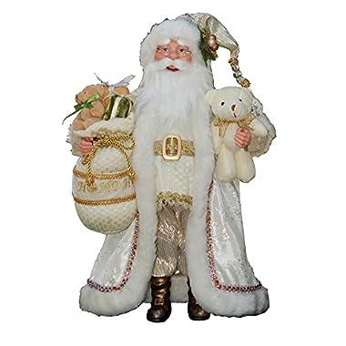 16  Inch Standing White & Gold Santa Claus Christmas Figure Figurine Decoration 41601