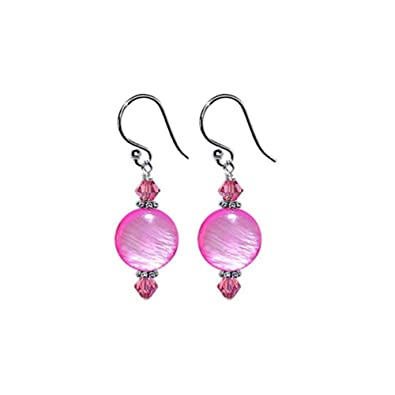 e5098338f858e 925 Sterling Silver 10mm Pink Mother of Pearl Drop Earrings Handmade with  Swarovski Crystals