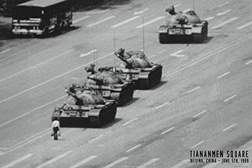 Tiananmen Square Tank Man Or Unknown Protester June 1989 Chinese Military Tanks Poster 36x24 Tank Man Tiananmen Square