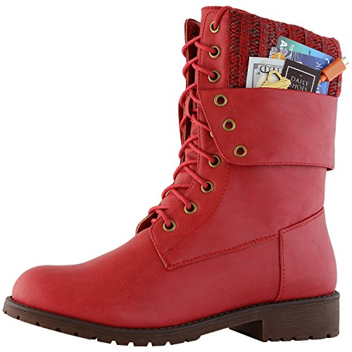 Easy Lace Up Red Boots (DailyShoes Womens Military Lace Up Buckle Combat Boots Ankle Mid Calf Fold-Down Exclusive Credit Card Pocket, Red PU, 8.5)