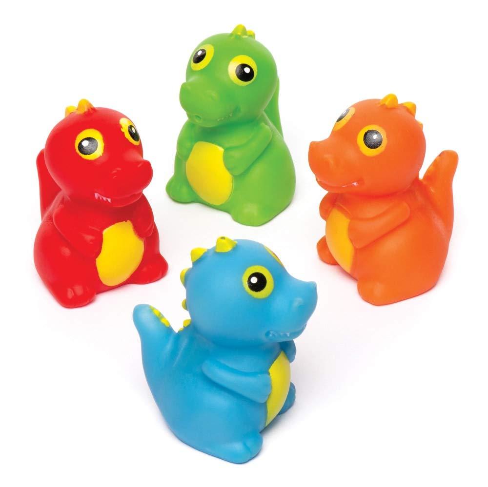 Juguetes de goma que flotan con dise/ños variados ideales para la hora del ba/ño o para actividades acu/áticas Baker Ross Dinosaurios que lanzan agua Pack de 4