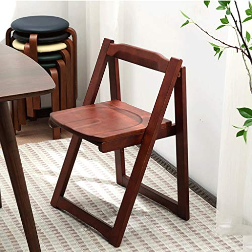 JIAHE115 Folding Chair Solid Wood-HJCA820 Nordic Home Modern Minimalist Chair Portable Provincial Space Economy Stool (43.5×37×75cm) (Color : C Pure Brown Coffee)