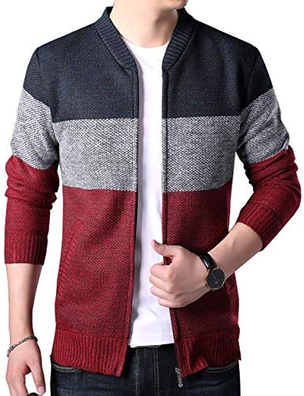 Biutimarden męska kurtka z dzianiny z długim rękawem Cardigan sweter pełny kołnierz ciepła bluza długie rękawy kurtka sweter płaszcz: Odzież