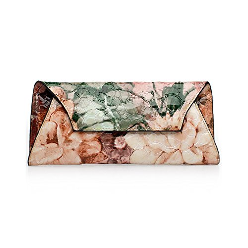 Classy Charm Second Layer Genuine Leather Crocodile Patent Leather Ethnic Style Portable Handbag Clutch Style C
