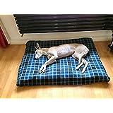 KosiPet® BLUE CHECK FLEECE Deluxe Medium Waterproof Dog Bed,Dog Beds,Pet Bed,Dogbed,Dogbeds,Petbed,Petbeds,